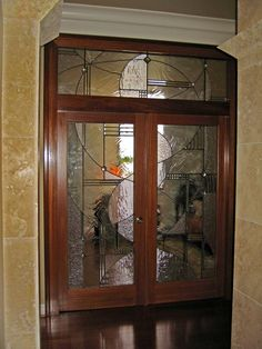 Art Glass by Wells | Custom leaded glass interior doors designed to create privacy between two rooms while allowing light to flow through the home.