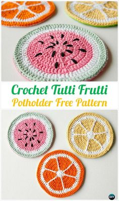 Crochet Fruit Potholder Free Pattern - Pot Holder Hotpad Free Patterns-cute for hot dishes on a summertime table Crochet Hot Pads, Crochet Diy, Crochet Amigurumi, Crochet Food, Crochet Kitchen, Crochet Gifts, Crochet Owls, Crochet Animals, Potholder Patterns
