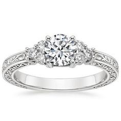 white gold trio diamond engagement ring by brilliant earth
