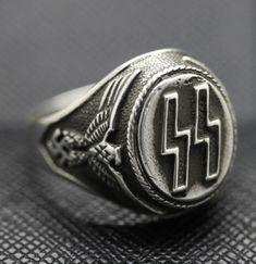 GERMAN SS RING SILVER EAGLE SWASTIKA http://antiq24.com/product/german-ss-ring-silver-eagle-swastika/