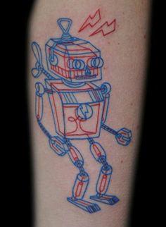 3D glasses tattoo by Joker the Tattoo Shop, Finland. Tattoo by Tuula Joka.