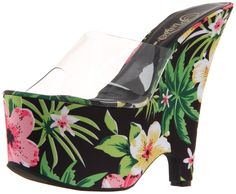 Pleaser Women's Beau-601FP/C/BMFPF Platform Sandal,Clear/Black Multi Floral,5 M US. You are the tropics incarnate in Pleaser's Beau sandal. This funky, fabulous find recalls bright flowers and warm nights with a 6.25-inch wedge and 2.75-inch platform in fun floral synthetic. A translucent upper means all you see are curves. Little paper umbrellas not included.