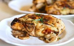 Mushroom and Swiss Chicken! I am definitely putting this on my menu plan for next week. Swiss Chicken, Cheese Stuffed Chicken, Bacon Stuffed Mushrooms, Cream Of Chicken Soup, Stuffed Peppers, Bacon Mushroom, Meat Recipes, Slow Cooker Recipes, Lunches
