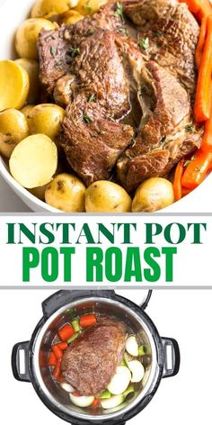 Easy instant pot pot roast recipe made with baby potatoes, carrots and best ever gravy. Great weeknight dinner. Has a keto option,  gluten free recipe www.noshtastic.com