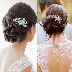 Wedding-Faux-Pearl-Orchid-Flower-Leaf-Clear-Rhinestone-Crystal-Hair-Comb
