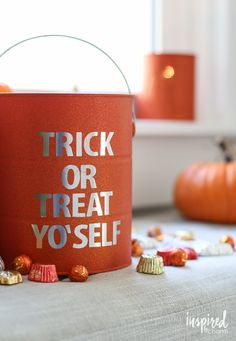 Trick or Treat Bucket - DIY Halloween Paint Can Decor . - Real Time - Diet, Exercise, Fitness, Finance You for Healthy articles ideas Adult Halloween Party, Creepy Halloween, Holidays Halloween, Happy Halloween, Halloween Candy, Chic Halloween, Halloween 2017, Halloween Decorations To Make, Halloween Crafts