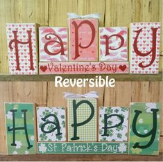 This Happy Valentines Day / Happy St. Patricks Day Blocks Set is reversible. This combo decoration will bring smiles to everyone. St Patrick's Day Crafts, Craft Day, Craft Night, Valentine Day Crafts, Holiday Crafts, Holiday Ideas, Valentine Ideas, My Funny Valentine, Happy Valentines Day
