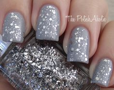 $6 - Set In Stones (Luxeffects Topcoat)  - Mix of small silver sparkle, medium silver glitter, and larger silver hex glitter in a clear base - Shown over a medium-light gray - Unopened  - Full size - 15ml / 0.5 oz