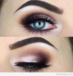 Rose, burgundy and black eye makeup More
