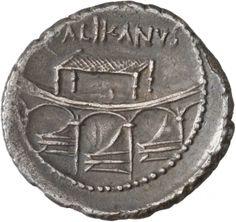Denario - argento - Roma repubblicana (45 a.C.) - PALIKANVS Tribuna con i rostri di 3 navi e subsellum - Münzkabinett Berlin
