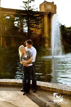 San Francisco Fine Art Wedding Photographer Orbie Pullen captured this moment of the engaged couple at the Palace of Fine Arts in San Francisco, Ca.