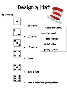 Dr. Suess Hat - Design a Hat Game to Practice Coin Identification