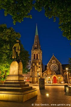 ChristChurch Cathedral and John Robert Godley Statue at Night, Cathedral Square, Christchurch, Canterbury, New Zealand Christchurch New Zealand, Silk Road, Canterbury, Old And New, Barcelona Cathedral, Places Ive Been, Travel Destinations, Australia, California