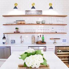 Kitchen Soffit, Kitchen Wall Shelves, Floating Shelves Kitchen, Kitchen Cabinets Decor, Basement Kitchen, Kitchen Wall Tiles, Open Kitchen, Kitchen Pantry, Basement Ideas