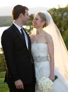 In this handout image provided by Barbara Kinney, Marc Mezvinsky and Chelsea Clinton pose during their wedding at the Astor Courts Estate on July 2010 in Rhinebeck, New York. Chelsea Clinton, the. Get premium, high resolution news photos at Getty Images Celebrity Wedding Photos, Celebrity Wedding Dresses, Wedding Pics, Celebrity Weddings, Wedding Ideas, Celebrity Gowns, Wedding Trends, Trendy Wedding, Wedding Bells