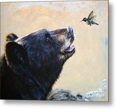 "Collectible Wildlife Artwork - ""The Bear and the Hummingbird"" - Art Reproduction Canvas Art, Canvas Prints, Art Prints, Art Colibri, Tattoo Papillon, Art D'ours, Bear Paintings, Hummingbird Art, Hummingbird Nectar"