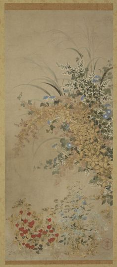 'Flowers and Grasses' (Edo period, 1600-1630). Ink and colour on...