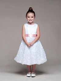 Flower Girl Dresses -Girls Dress Style 943-Choice of Ivory or White Satin and Embroidered Dress with Choice of 9 Sashes