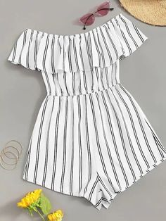 Off Shoulder Flounce Trim Striped Romper – GaGodeal Cute Teen Outfits, Cute Comfy Outfits, Teenager Outfits, Swag Outfits, Cute Summer Outfits, Outfits For Teens, Pretty Outfits, Stylish Outfits, Cute Summer Shirts