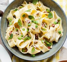 Ready in less than 30 minutes, this healthy Italian recipe using pappardelle pasta is low in fat, with fresh flavours of spring.