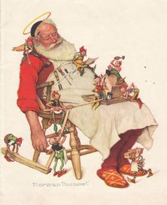 Father Christmas by Norman Rockwell Peintures Norman Rockwell, Norman Rockwell Art, Norman Rockwell Paintings, Father Christmas, Christmas Art, Primitive Christmas, Retro Christmas, Country Christmas, Christmas Illustration