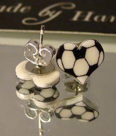 Soccer Ball Heart Stud Earrings  Sports Jewelry  by afanaffair, $6.99