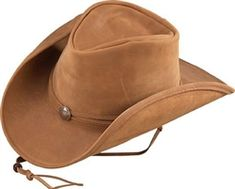 ad307de1e16 Beautiful camel colored lightweight leather cowboy hat from Henschel Hat  Company with chin strap. Mens