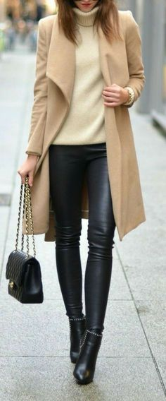 984739c9a9b Winter Color Crush  Cream - love this whole Outfit from the leather pants  and shoes to the sweater color and jacket color.