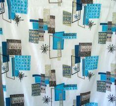 2 Vintage Abstract Mid Century Modern Fabric Curtain Drapery Panels Eames Era | eBay