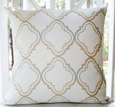Decorative Pillow Ivory Gold Silver Grey Quatrefoil Moroccan Designer Pillow Cover 16 x 16 - Throw Pillow