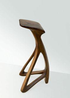 LOLA , small barstool in walnut. Handmade by Dimisco - Unusual Fine Furniture