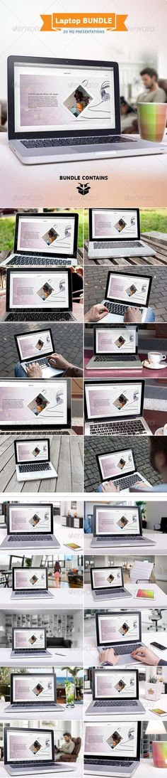 Laptop Screen Mockup Bundle — Photoshop PSD #web #device screen • Available here → https://graphicriver.net/item/laptop-screen-mockup-bundle/7706859?ref=pxcr