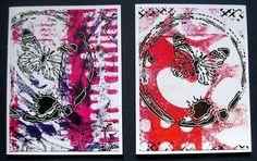 Original Handmade Mixed Media Gelli Printed Note Cards 062503