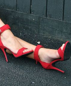 """Bianca Suede 3"""" Heels On Sale: $38.99-Now $19.00 Rev up your evening wear with this strappy red suede heel. Bianca features a 3"""" heel, ankle and toe straps, and a stylish accent buckle. - 3 Inch Heel"""