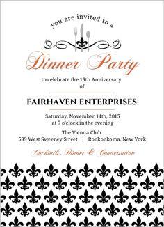 The 9 best business invitations images on pinterest birthday elegant black fleur de lis business anniversary invitation stopboris Image collections