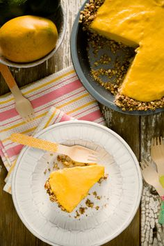 Frozen Mango Margarita Pie With a Pretzel Crust from Cupcake Project for @National Mango Board