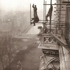 The scaffolding of labourers working on Notre Dame