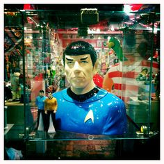 Actually kind of a cool group of dolls. Captain Kirk & Spok next to a Spok Bust