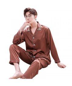 Double pocket leisure men's pajama sets Satin pajamas for male Pajamas For Teens, Best Pajamas, Cute Pajamas, Pajamas Women, Comfy Pajamas, Mens Footed Pajamas, Mens Silk Pajamas, Satin Pajamas, Satin Pyjama Set
