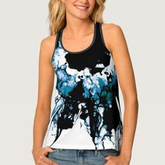 Shop DAMAGE Black and Blue Abstract Tank Top created by prettystrangeu. Personalize it with photos & text or purchase as is! Blue Abstract, Fitness Models, Dress Up, Just For You, Feminine, Tank Tops, How To Wear, Shirts, Shopping