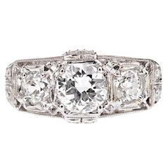 Three Stone Art Deco Diamond Platinum Ring