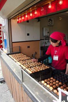 Japanese street food. Making of Takoyaki!  (snack with octopus is very popular in Japan)