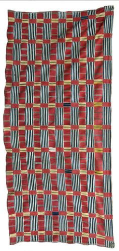Ewe, Ghana, women's cloth, C19th. Use of hand spun indigo and white cotton is very rare to find in surviving Ewe cloths, as is the alternation of warp faced and weft faced strips. Private collection, London.