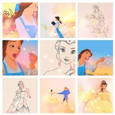 Call me strange, but I think the sketches of Belle are even more beautiful than the finished product.
