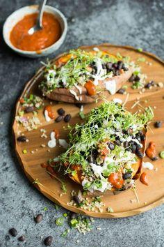 Loaded Sweet Potatoes with Quinoa Tabbouleh. Healthy vegan