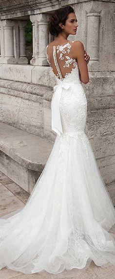 Fantastic Tulle Bateau Neckline Mermaid Wedding Dresses With Lace Appliques
