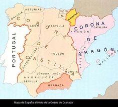 mapa inicial de la guerra de granada Spain History, European History, Art History, Aragon, Granada, Iberian Peninsula, Old Maps, Pearl Harbor, Historical Maps