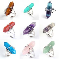Crystal Ring 18 Different Stones You Choose Rose Quartz Amethyst Avent – Made4Walkin Amethyst Quartz, Quartz Crystal, Rose Quartz, Cufflinks, Ladies Party, Heart Chakra, Stacking Rings, Healing Stones, Grief
