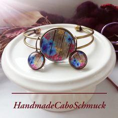Cabochon Schmuckset Armreif/Armband 25mm und Ohrhänger 12mm Bronze Blumen blau Holzoptik