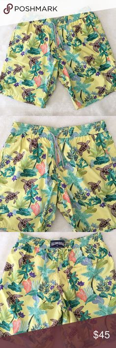 Vilebrequin Men's Okoa Turtle Swim Trunks size XXL Pre-owned authentic Vilebrequin Men's Okoa Swim Trunks size XXL. Turtles and Leaves. Signs of normal wear. Has inner lining. Side and back pocket. Please look at pictures for better reference. Happy Shopping! Vilebrequin Swim Swim Trunks